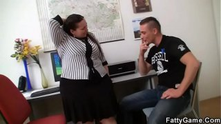 He fucks big booty office plumper from behind
