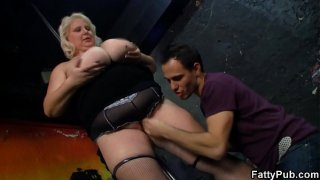 Big tits blonde chubby party girl strips and gets fucked
