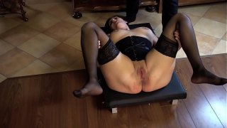 Obedient slave whipped while her legs spread