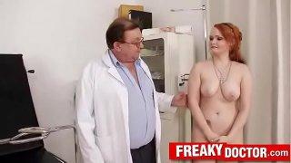 Czech redhead Samantha fetish clinic pussy exam