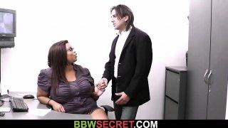 Plump ebony secretary rides boss cock