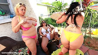 3 BBW Lesbians Sam Lexxxi and Angelina Lick Tits Outside