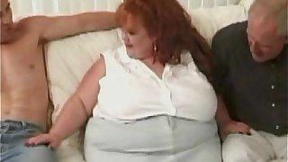 Huge BBW Redhead Takes On Three Massive Cocks