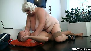 Busty fat girl rides skinny guy