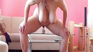 Horny Chubby Teen GF riding her dildo and licking her own Cum