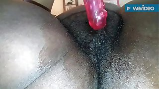 Bumble Bee, wet fat tight hairy pussy with dildo closeup solo