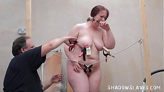Bizarre fat slave punishment and homemade tools bdsm of chubby RosieB in extreme