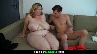 Big tits blonde girl rides his cock