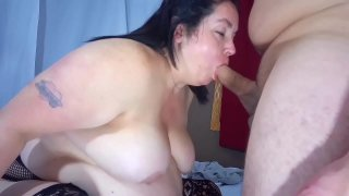 Sexy BBW Gagging Blowjob and Vibrator