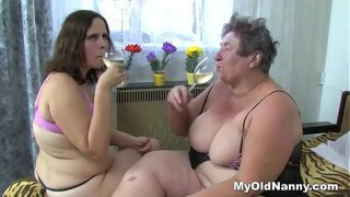 Teen beauty having sex with dirty grandma